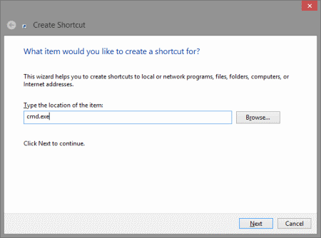 Create Shortcut for CMD.exe