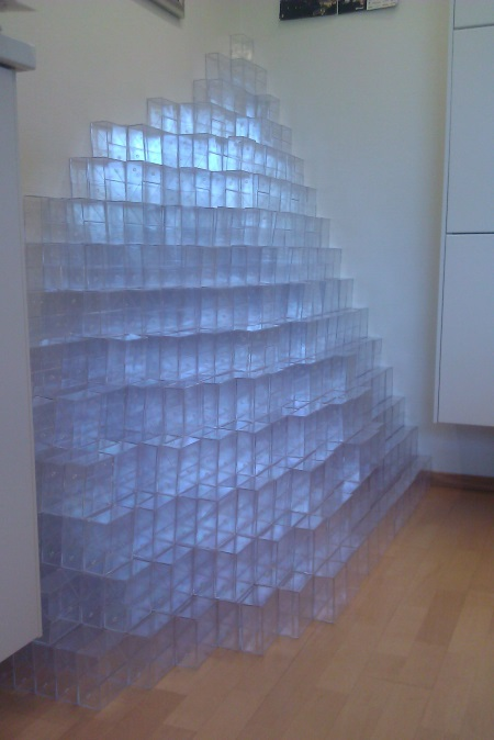 "Art installation ""Resistance to Change"" in my office made from empty floppy containers."
